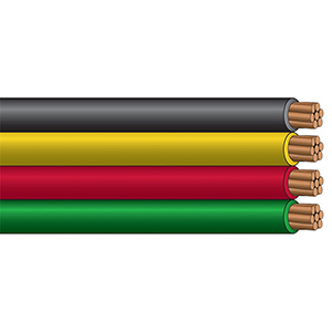 10/2, 600 V, 30 A, Black/red/yellow/green, PVC Insulation, Copper Conductor, Grounding, Thw, Flat, Parallel, Stranded, Sunlight Resistant, Gasoline, Oil Resistant, Submersible Pump Cable (500' Per Roll)