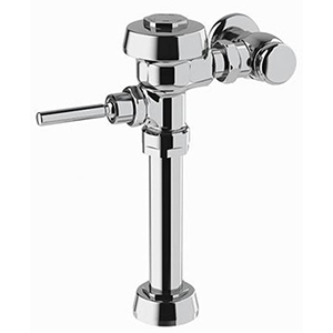 """Water Closet Flushometer 1"""", IPS INLET, 11.5"""" Rough-In, 1.6 GPF, Polished Chrome Semi-Red Brass, Top Mount, Manual Top Spud, Oscillating Non-Hold Open Handle, Diaphragm, Exposed, 1-Flush"""