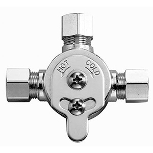 "2-13/16"" X 3/4"", Lead-free, Chrome Plated, Brass, Below Deck, Hot/cold, Mechanical Water Mixing Valve With Compression Sleeves And Nut For Basys/optima Ebf-615/ebf-650/ebf-625 Infrared Sensor/capacitance Sensing Activated Electronic Faucet"