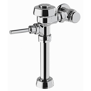 """Water Closet Flushometer, 1"""", IPS INLET, 11.5"""" Rough-In, 1.28 GPF, Polished Chrome Semi-Red Brass, Top Mount, Manual Top Spud, Oscillating Non-Hold Open Handle, Diaphragm, Exposed, 1-Flush"""
