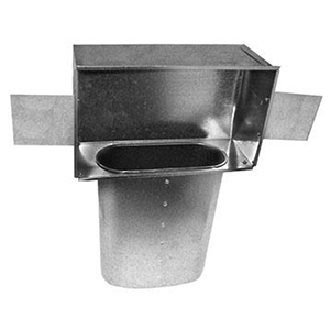 """10"""" X 4"""" X 5"""", Hot Dip Galvanized Steel, Oval, Sheet Metal Duct Stackhead"""
