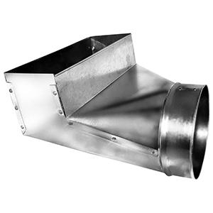 "4"" X 10"" X 4"", Hot Dip Galvanized Steel, 90d, Register, Rectangular To Round, Sheet Metal Duct Boot"