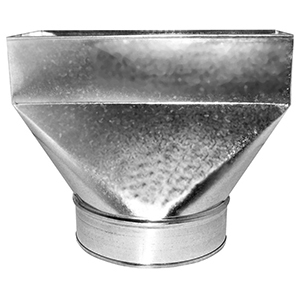 "4"" X 10"" X 6"", Hot Dip Galvanized Steel, Straight, Register, Rectangular To Round, Sheet Metal Duct Boot"