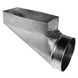 """4"""" X 10"""" X 4"""", Hot Dip Galvanized Steel, Center End, Register, Rectangular To Round, Sheet Metal Duct End Boot"""