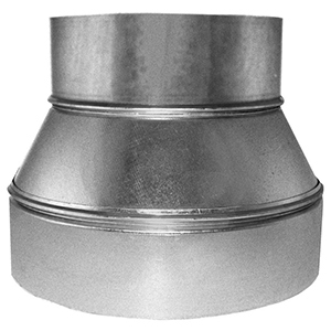 "10"" X 8"", 26 Gauge, Hot Dip Galvanized Steel, 3-piece, Round, Sheet Metal Duct Reducer"