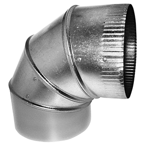 "7"" X 7"", 26 Gauge, Hot Dip Galvanized Steel, Round, Straight, 90d, Sheet Metal Duct Elbow"