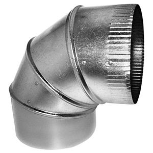 "4"" X 4"", 30 Gauge, Hot Dip Galvanized Steel, Round, Straight, 90d, Sheet Metal Duct Elbow"
