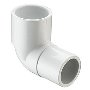 "¾"" Spigot x Socket Straight and Street Schedule 40 PVC 90 Degree Elbow"