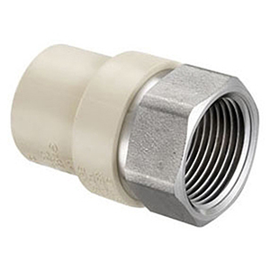 """½""""  Socket x Stainless Steel FPT Tan Injection Molded CPVC Transition Straight Female Adapter"""