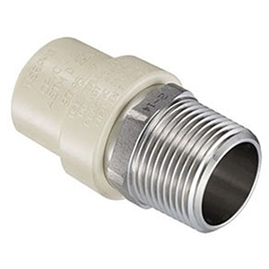 """½"""" Socket x Stainless Steel MPT Tan Injection Molded CPVC Transition Straight Male Adapter"""