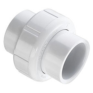 "¾"" Socket Straight Schedule 40 PVC Union with Buna-N O-Ring Seal"