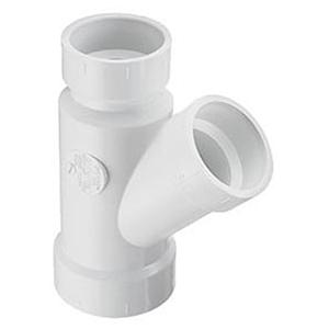"8"" x 8"" x 4"" Hub White Injection Molded PVC DWV Reducing Wye"