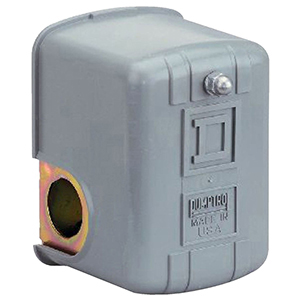 """1/4"""" Npsf Internal, 1 HP, 40 To 60 PSI, 20 To 65 PSI Cut-out, 5 To 45 PSI Cut-in, 15 To 30 PSI Differential, Lead-free, Water Media, Dpst, Nc, Snap Action, Ip20/nema 1 Polypropylene Cover Enclosure, Diaphragm Operator, Standard Adjustable Differential, Commercial Water Pump Switch"""