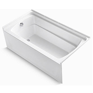 "60"" X 32"" X 21"", 55 Gallon, Left Drain, White/high Gloss, Solid Vikrell, 3-wall Alcove, Bathtub"
