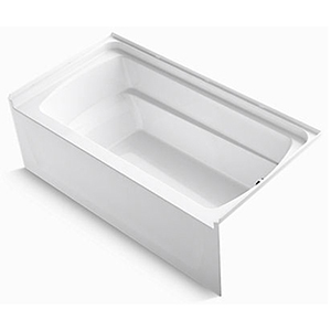 "60"" X 32"" X 21"", 55 Gallon, Right Drain, White/high Gloss, Compression Molded Solid Vikrell, 3-wall Alcove, Bathtub"