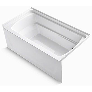 "60"" X 32"" X 23"", 51 Gallon, Right Drain, White/high Gloss, Compression Molded Solid Vikrell, 3-wall Alcove, Bathtub"