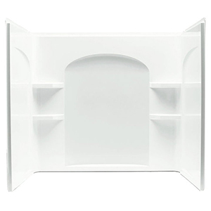 "60"" X 33-1/4"", White/durable High Gloss, Solid Vikrell, 3-piece, Alcove, Curve, Bath/shower Wall Set"