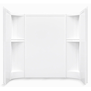 """60"""" X 31-1/4"""", White/smooth High Gloss, Solid Vikrell, 3-piece, Alcove, Bath/shower Wall Set"""