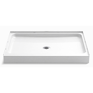 "48"" X 34"" X 5-1/2"", White/durable High Gloss, Solid Vikrell, 3-wall Alcove, Center Drain, Threshold, Rectangle, Shower Base"