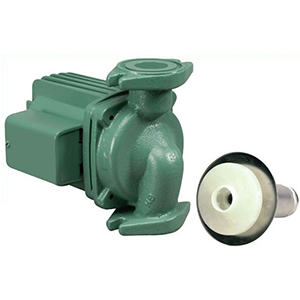 """3/4 To 1-1/2"""", Flanged X Flanged, 115 VAC 60 Hz 1-phase, 1.76 A, 1/8 HP, 150 PSI, 31 GPM , 3250 RPM, 31' Discharge Head, Lead-free, Cast Iron, Cartridge Circulator Pump"""