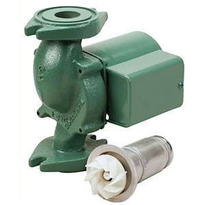 """3/4 To 1-1/2"""", Flanged X Flanged, 115 VAC 60 Hz 1-phase, 0.74 A, 1/25 HP, 125 PSI, 23 GPM , 3250 RPM, 10' Discharge Head, Lead-free, Cast Iron, In-line, Wet Rotor, 1-stage, Cartridge Circulator Pump"""