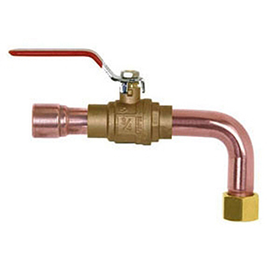 "3/4"" X 3/4"", FPT Swivel Elbow X CPVC Socket, 7"" Larger End, 3"" Smaller End, Lead-free, Straight, Water Heater Connector With Full Port Ball Valve"