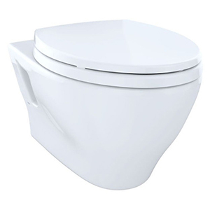 1.6/0.9 GPF, Cotton White, Vitreous China, Wall Mount, Elongated Front, Bowl With Cefiontect Ceramic Glaze For Aquia Aquia Dual Flush Toilet