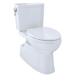 "17-1/4"" H, 12"" Rough-in, 1 GPF, Cotton White, Vitreous China, Floor Mount, Elongated Front, Bowl With Cefiontect Ceramic Glaze For Vespin Ii 1g Cst474cuf(r)(g) 2-piece Close Coupled High Efficiency Toilet"