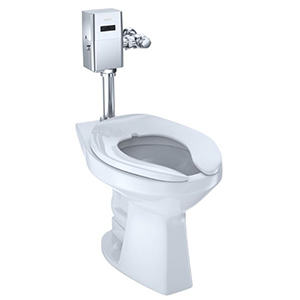 "25-1/4"" X 14-3/8"", 10/12"" Rough-in, 17-1/2"" Bowl Height, 1/1.28/1.6 GPF, Flushometer Valve, Cotton White, Vitreous China, Floor Mount, Elongated Front Bowl, Ultra High Efficiency, Toilet"