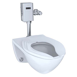 "24-7/8"" X 15-3/8"", 6-3/8"" Rough-in, 17"" Bowl Height, 1/1.28/1.6 GPF, Flushometer Valve, Cotton White, Vitreous China, Wall Mount, Elongated Front Bowl, Ultra High Efficiency, Toilet With Cefiontect Ceramic Glaze"