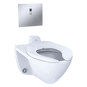 "24-7/8"" X 15-3/4"", 6-3/8"" Rough-in, 17"" Bowl Height, 1/1.28/1.6 GPF, Flushometer Valve, Cotton White, Vitreous China, Wall Mount, Elongated Front Bowl, Ultra High Efficiency, Toilet"