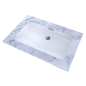 """23-3/4"""" X 14-3/8"""" X 5-5/16"""", Cotton White, Vitreous China, Rear Overflow, Rectangle, Undercounter, Rimless, Bathroom Sink With Cefiontect Ceramic Glaze"""