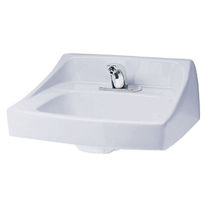 """20-7/8"""" X 18"""" X 11-1/8"""", 3-hole, 4"""" Center, Cotton White, Vitreous China, Rear Overflow, Wall Mount, Bathroom Sink"""
