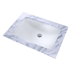 "20-7/8"" X 14-3/8"" X 8-1/8"", Cotton White, Vitreous China, Front Overflow, Rectangle, Undercounter, Rimless, Bathroom Sink With Cefiontect Ceramic Glaze"