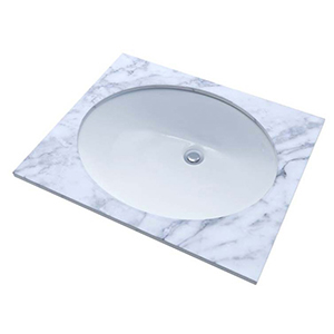 """19-1/4"""" X 16-1/4"""" X 7-1/2"""", Cotton White, Vitreous China, Concealed Front Overflow, Oval, Undercounter, Rimless, Bathroom Sink"""