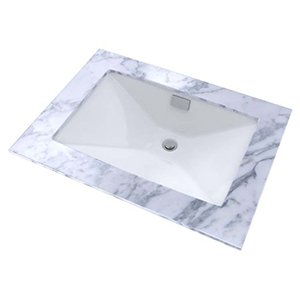 "23"" X 16"" X 8-3/4"", Cotton White, Vitreous China, Rear Overflow, Rectangle, Undercounter, Bathroom Sink"
