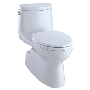 Carlyle Ii 1 Piece Elongated High Efficiency Toilet Double Cyclone Toilet W/ Skirted Bowl Universal Height & Sanagloss White (w/ Ss114 Seat)(replaces Ms614164cefg#01)