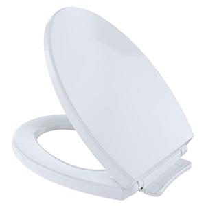 "White, Closed Front, Elongated, 14"" X 18-1/2"", Cotton White, Polypropylene, Toilet Seat"