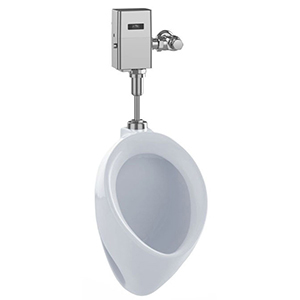 """13"""" X 14"""" X 21-3/4"""", 3/4"""" Top Spud Inlet X 2"""" FPT Rear Outlet, 0.5 GPF, 15 PSI, Cotton White, Vitreous China, Wall Mount, Compact, Washout Flush Action, High Efficiency, Low Consumption, Urinal"""