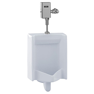 """17-3/4"""" X 14-1/4"""" X 26"""", 3/4"""" IPS Top Spud Inlet X 2"""" IPS Rear Outlet, 0.125 GPF, 15 PSI, Cotton White, Vitreous China, Wall Mount, Washout Flush Action, Ultra High Efficiency, Urinal"""