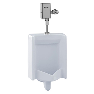 """17-1/2"""" X 14"""" X 27"""", 3/4"""" IPS Top Spud Inlet X 2"""" IPS Rear Outlet, 0.5 GPF, 15 PSI, Cotton White, Vitreous China, Wall Mount, Compact, Washout Flush Action, High Efficiency, Low Consumption, Urinal"""