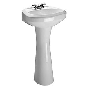 "20"" X 17"" X 34"", 3-hole, 4"" Center, White, V-gloss High Gloss Vitreous China, Hidden Front Overflow, Pedestal Bathroom Sink"
