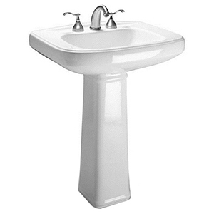 "28"" X 20"" X 34"", 3-hole, 4"" Center, White, V-gloss High Gloss Vitreous China, Hidden Front Overflow, Pedestal Bathroom Sink"