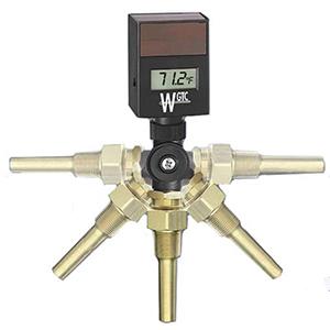 "B & G Digital Thermometer 3-1/2"" Stem, -58 To 302 DEG F, ABS Case, Aluminum Stem, Bi-Directional, Solar-Powered"