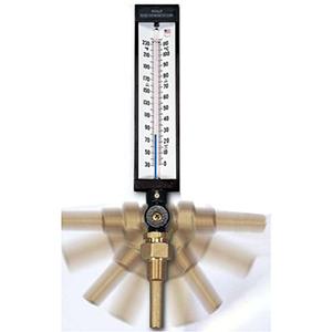 "B & G Angle Thermometer 3-1/2"" Stem, 9"" Scale, 30 To 240 DEG F, ABS, Blue Spirit, Adjust"