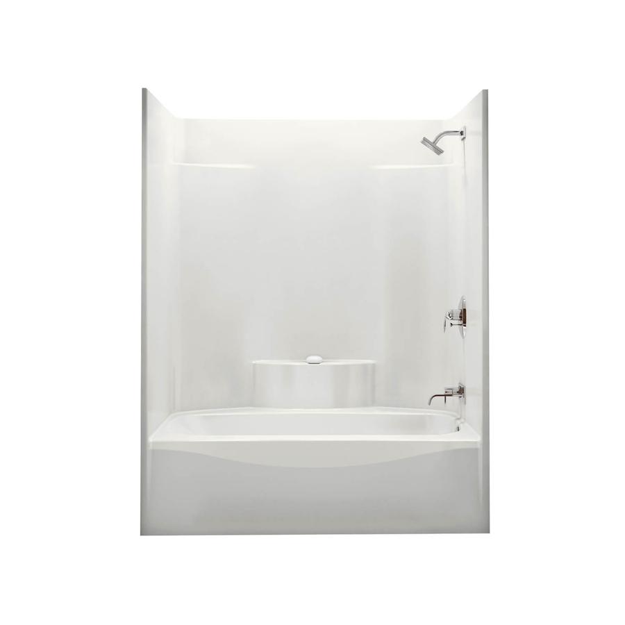 Left Hand Drain White Soaking Tub & Shower