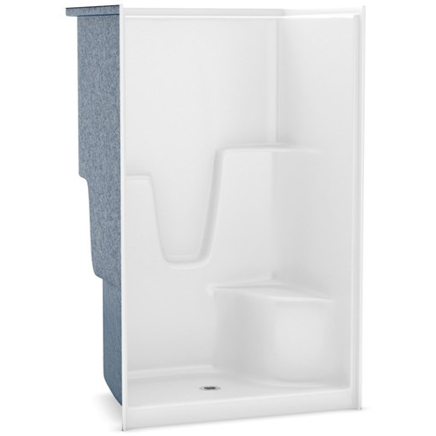 Center Drain White Right Hand Seat Shower