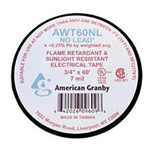 "¾"" x 60' x 7 Mil Lead free Black Vinyl Electrical Tape (64 Per Carton)"