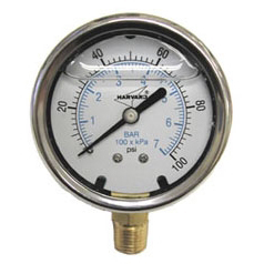 """1/4"""" MPT, 2-1/2"""" Dial, 0 to 300 PSI, +/-3% Accuracy, Lead-Free, Stainless Steel, Phosphor Bronze Bourdon Tube, Lower Connection, Pressure Gauge"""