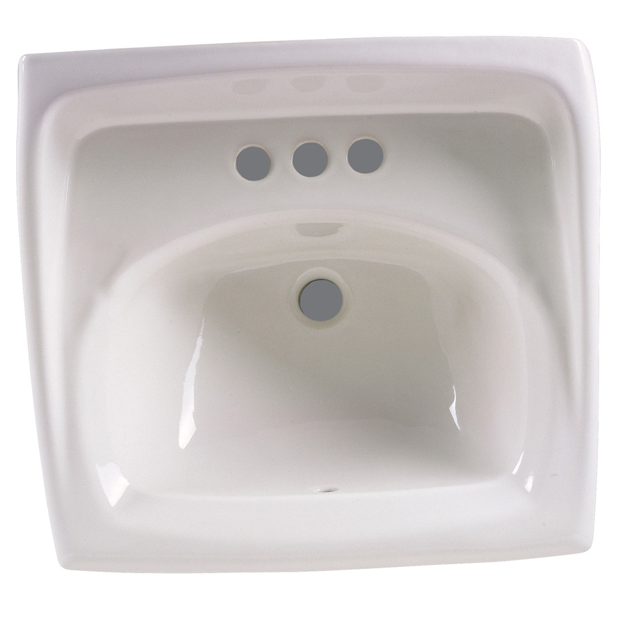 "Lucerne White Wall Mounted 4"" Centers Lavatory Sink"